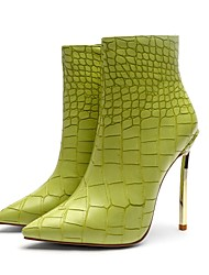 Недорогие -Жен. Fashion Boots Синтетика Наступила зима Винтаж Ботинки На шпильке Заостренный носок Сапоги до середины икры Животные принты Зеленый / Для вечеринки / ужина