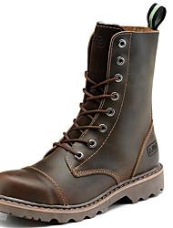 Недорогие -Жен. Армейские ботинки Наппа Leather Зима Классика / Винтаж Ботинки На плоской подошве Сапоги до середины икры Черный / Коричневый