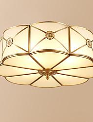 baratos -3-luz Circular Montagem do Fluxo Luz Ambiente Latão Antiquado Metal Vidro Criativo 110-120V / 220-240V Branco Quente
