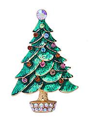 abordables -Femme Zircon cubique Classique Broche - Costumes de père noël, Arbre de Noël Classique, Dessin Animé, Le style mignon Broche Vert Pour Noël / Quotidien