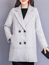 billige -kvinder går ud lang slank jakke - solidfarvet
