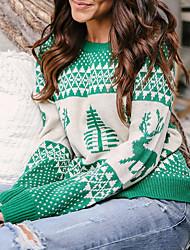 Недорогие -Жен. Рождество / Повседневные / выходные Рождество Геометрический принт / Цветочный принт Длинный рукав Обычный Пуловер Красный / Темно синий / Серый M / L / XL