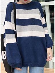 Недорогие -Жен. Повседневные Полоски Длинный рукав Обычный Пуловер Кроличий мех Синий / Хаки Один размер