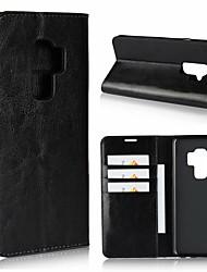 billige -Etui Til Samsung Galaxy S9 Plus / S9 Pung / Stødsikker / Med stativ Fuldt etui Ensfarvet Hårdt ægte læder for S9 / S9 Plus / S8 Plus