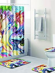 Недорогие -1 комплект Традиционный Коврики для ванной 100 г / м2 полиэфирный стреч-трикотаж Креатив Прямоугольная Ванная комната Легко очистить