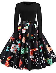 Недорогие -Жен. Классический А-силуэт Платье - Контрастных цветов Средней длины
