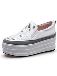 abordables -Femme Chaussures de confort Cuir Nappa Eté Mocassins et Chaussons+D6148 Creepers Noir / Gris