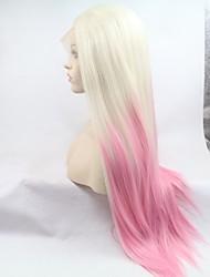 voordelige -Pruik Lace Front Synthetisch Haar Kinky Recht Wit Gelaagd kapsel Roze 130% Human Hair Density Synthetisch haar 26 inch(es) Dames Dames Wit / Roze Pruik Gemiddelde Lengte Kanten Voorkant Sylvia / Ja