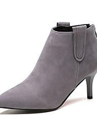 Недорогие -Жен. Армейские ботинки Замша Осень На каждый день Ботинки На шпильке Заостренный носок Сапоги до середины икры Черный / Серый / Миндальный / Для вечеринки / ужина