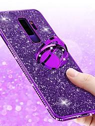 Недорогие -Кейс для Назначение SSamsung Galaxy S9 / S9 Plus / S8 Plus Стразы / Покрытие / Кольца-держатели Кейс на заднюю панель Сияние и блеск Мягкий ТПУ