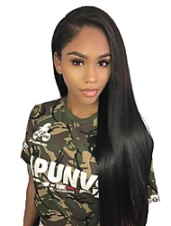 Недорогие -человеческие волосы Remy Полностью ленточные Лента спереди Парик Ассиметричная стрижка стиль Бразильские волосы Прямой Естественный прямой Черный Парик 130% 150% 180% Плотность волос