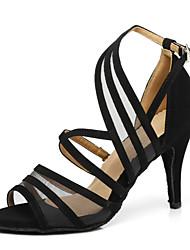 Недорогие -Жен. Танцевальная обувь Замша Обувь для латины На каблуках Тонкий высокий каблук Черный / Бронзовый / Красный / Выступление / Тренировочные