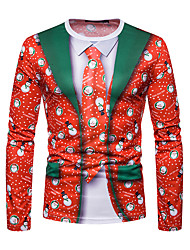 Недорогие -Муж. Рождество Футболка Круглый вырез Геометрический принт / Длинный рукав