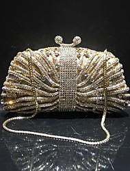 baratos -Mulheres Bolsas Liga Bolsa de Festa Detalhes em Cristal / Vazados Côr Sólida Dourado