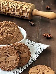 abordables -Outils de cuisson Bois Nouvelle arrivee / Noël Petit gâteau Animal Rouleau à Pâtisserie 1pc