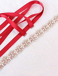 Χαμηλού Κόστους -Γάμου / Πάρτι / Βράδυ Ζώνη Με Κρυσταλλάκια / Απομίμηση Πέρλας / Διακοσμητικά Επιράμματα Γυναικεία Ζώνες για Φορέματα