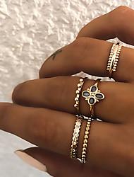 5pcs Women's Retro Knuckle Ring Ring Set Multi Finger Ring - Resin, Imitation Diamond, Alloy Clover Ladies, Vintage, Punk, Boho Jewelry Gold / Silver For ...
