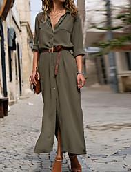 abordables -Femme Basique Maxi Mince Gaine Robe - Fendu, Couleur Pleine V Profond Printemps Eté Noir Marine Vert Véronèse M L XL Coton Manches Longues
