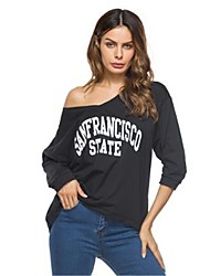 billige -Dame - Bogstaver Trykt mønster Boheme / Gade T-shirt