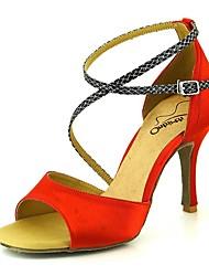 baratos -Mulheres Sapatos de Dança Latina Cetim Salto Salto Alto Magro Sapatos de Dança Rosa claro / Amêndoa / Nú / Espetáculo / Couro / Ensaio / Prática