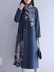 Недорогие -женский плюс размер сменное платье midi turtleneck