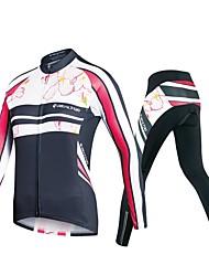 Недорогие -Realtoo Жен. Длинный рукав Велокофты и лосины - Черный Большие размеры Велоспорт Наборы одежды, Дышащий, 3D-панель, Сохраняет тепло, Быстровысыхающий, Впитывает пот и влагу Полиэстер, Спандекс