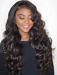 Недорогие -Натуральные волосы 100% ручная работа Фронтальная часть Полностью ленточные Парик Бразильские волосы Естественные кудри Парик Глубокое разделение 130% 180% Плотность волос / с детскими волосами
