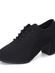 abordables -Femme Chaussures Modernes Toile Basket Talon épais Personnalisables Chaussures de danse Noir