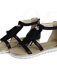 Недорогие -Жен. Комфортная обувь Синтетика Лето Сандалии На плоской подошве Золотой / Черный