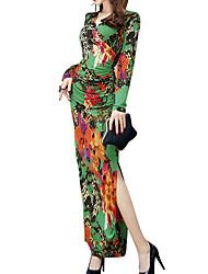Недорогие -Жен. Классический Хлопок Тонкие Брюки - Цветочный принт Кружева Зеленый / Для вечеринок / Макси / V-образный вырез / На выход / Сексуальные платья