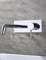 Недорогие -Ванная раковина кран - Широко распространенный / Новый дизайн Хром Монтаж на стену Одной ручкой одно отверстие