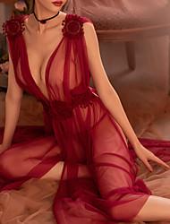Недорогие -Жен. Супер секси Бебидол / маечка Ночное белье - Кружева / Цветы Однотонный / Глубокий V-образный вырез