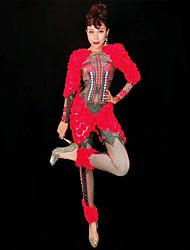 669228bd42 Táncruhák Egzotikus táncruházat / Nightclub overál Női Teljesítmény Spandex  Rátétek / Kristályok / Strasszok Hosszú ujj Akrobatatrikó / Egyrészes