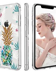 Недорогие -BENTOBEN Кейс для Назначение Apple iPhone X / iPhone XS Защита от удара / Ультратонкий / Прозрачный Кейс на заднюю панель Растения / Фрукты / Цветы Твердый ТПУ / Закаленное стекло для iPhone XS