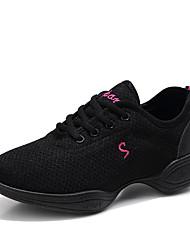 Недорогие -Жен. Танцевальная обувь Эластичная ткань Танцевальные кроссовки Кроссовки На плоской подошве Белый / Черный / Красный / Тренировочные