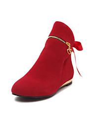 Недорогие -Жен. Ботильоны Замша Наступила зима На каждый день Ботинки На плоской подошве Круглый носок Ботинки Цветы из сатина Зеленый / Темно-красный / Темно-лиловый: