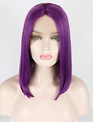 voordelige -Pruik Lace Front Synthetisch Haar Natuurlijk recht Paars Middelste stuk Paars 180% Human Hair Density Synthetisch haar 14-16 inch(es) Dames Zacht / Hittebestendig / synthetisch Paars Pruik Kort