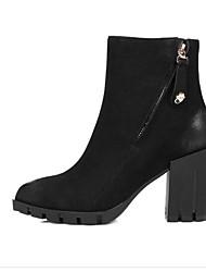 billige -Dame Fashion Boots Nappalæder Efterår Støvler Kraftige Hæle Lukket Tå Ankelstøvler Sort / Kamel