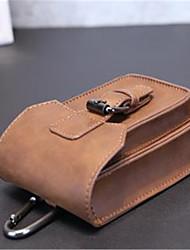 Недорогие -Муж. Мешки PU Мобильный телефон сумка Пуговицы Сплошной цвет Кофейный