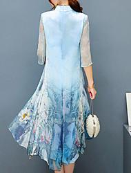 baratos -Mulheres Tamanhos Grandes Festa Temática Asiática / Sofisticado Bainha Vestido - Estampado, Floral Colarinho Chinês Altura dos Joelhos / Assimétrico / Solto