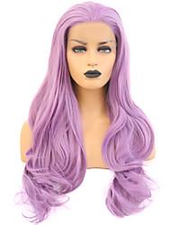 Недорогие -Синтетические кружевные передние парики Жен. Волнистый Фиолетовый Свободная часть Искусственные волосы 24 дюймовый Регулируется / Жаропрочная Фиолетовый Парик Длинные Лента спереди Фиолетовый / Да