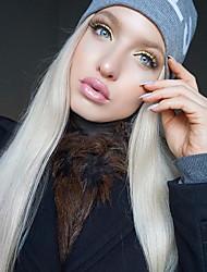 billige -Syntetisk Lace Front Parykker Lige Mellemdel Syntetisk hår 22-26 inch Blød / Varme resistent / Dame Hvid Paryk Dame Lang Blonde Front Platin Blond / Mode