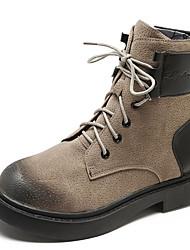 billige -Dame Militærstøvler PU Efterår vinter Afslappet Støvler Flade hæle Rund Tå Ankelstøvler Sort / Mørkebrun / Kakifarvet