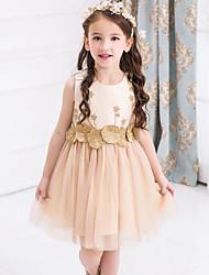 זול -שמלה ללא שרוולים פרחוני / טלאים בנות ילדים
