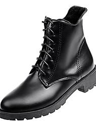 baratos -Mulheres Fashion Boots Couro Ecológico Inverno Casual Botas Salto Baixo Botas Cano Médio Preto