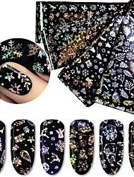 abordables -1 pcs Autocollants Série de dessin animé / Flocon de Neige Manucure Manucure pédicure Classique / Meilleure qualité Mode / Style Folk Noël / Quotidien