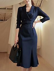 billige -kvinders slanke kappe kjole knælængde v hals