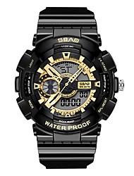 Недорогие -Муж. Спортивные часы электронные часы Японский Цифровой Стеганная ПУ кожа Черный / Белый 30 m Защита от влаги Календарь Секундомер Аналого-цифровые Блестящие Мода - Белый Черный Черный и золотой