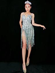 baratos -Fantasia de Dança Roupas de Dança Exótica / Macacão Para Dança Mulheres Espetáculo Elastano Mocassim / Cristal / Strass Sem Manga Vestido