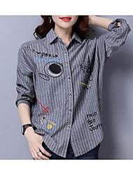 Недорогие -женская хлопчатобумажная рубашка - мультяшный / полосатый воротник рубашки